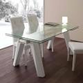 Ausziehbarer Tisch aus Glas, Edelstahl und Metall weiß Florida
