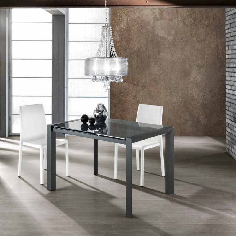 Ausziehbarer Tisch aus grau lackiertem Glas und Zeno Metall