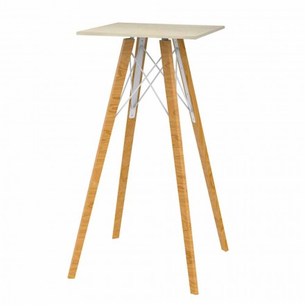 Quadratischer hoher Stehtisch aus Holz und Marmoreffekt 4 Stück - Faz Wood von Vondom