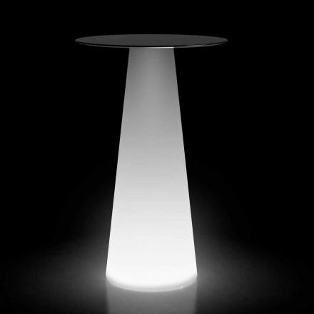 Hochtisch im Freien mit LED-Licht aus HPL und Polyethylen Made in Italy - Forlina