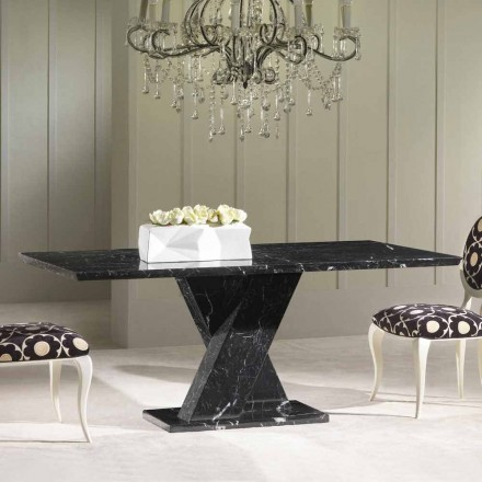 Klassischer, fester Tisch aus Marmor mit geflechtem Sockel Byron