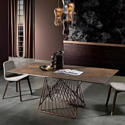Moderner Tisch mit glaskeramischer Oberfläche, hergestellt in Italien, Mitia
