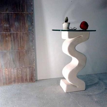 Konsolentisch rund aus Stein und Kristall in modernem Design Babylas