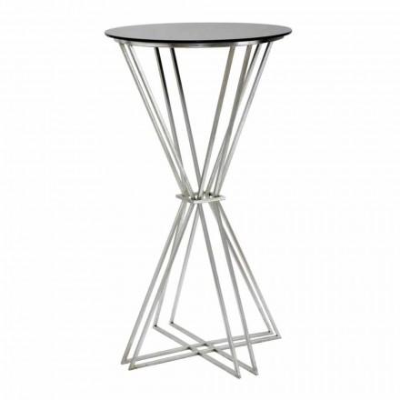 Runder Stehtisch in modernem Design aus Eisen und Glas - Benita