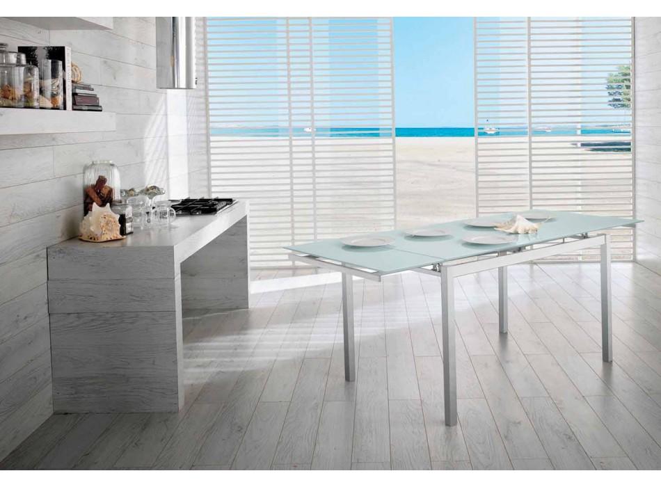 Ausziehbarer Küchentisch bis 200cm in Glas und Metall - Stempel