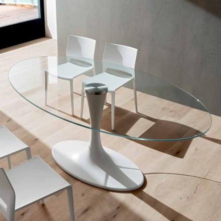 Küchentisch aus gehärtetem Glas und Marmor Made in Italy, Luxus - Brontolo