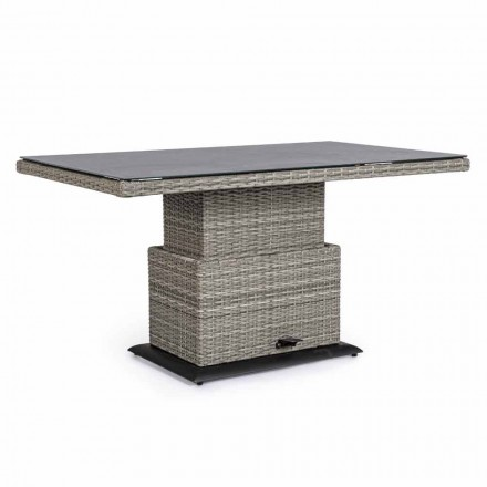 Tisch im Freien aus Keramik und Kunstfaser, höhenverstellbar - Claire