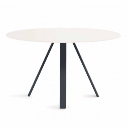 Runder Metall- und HPL-Tisch im Freien Made in Italy - Conrad