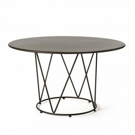 Runder moderner Tisch im Freien aus lackiertem Metall Made in Italy - Ibra