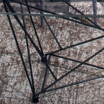 Barrel Esstisch aus Glas und schwarzem Stahl Made in Italy - Ezzellino