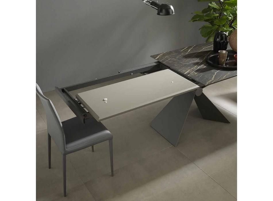 Ausziehbarer Esstisch bis 298 cm in Metall- und Keramikplatte - Anaconda