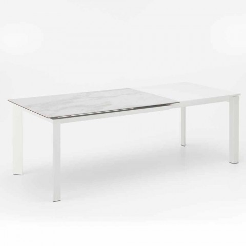 Ausziehbarer Esstisch mit Keramikplatte in Marmoroptik, Nosate