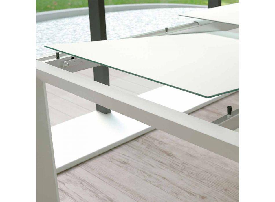 Ausziehbarer Esstisch Bis zu 220 cm in Made in Italy Glas - Macchia