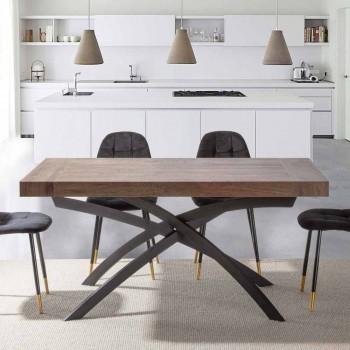 Ausziehbarer Esstisch Bis zu 260 cm aus Melaminholz und Metall - Lukas