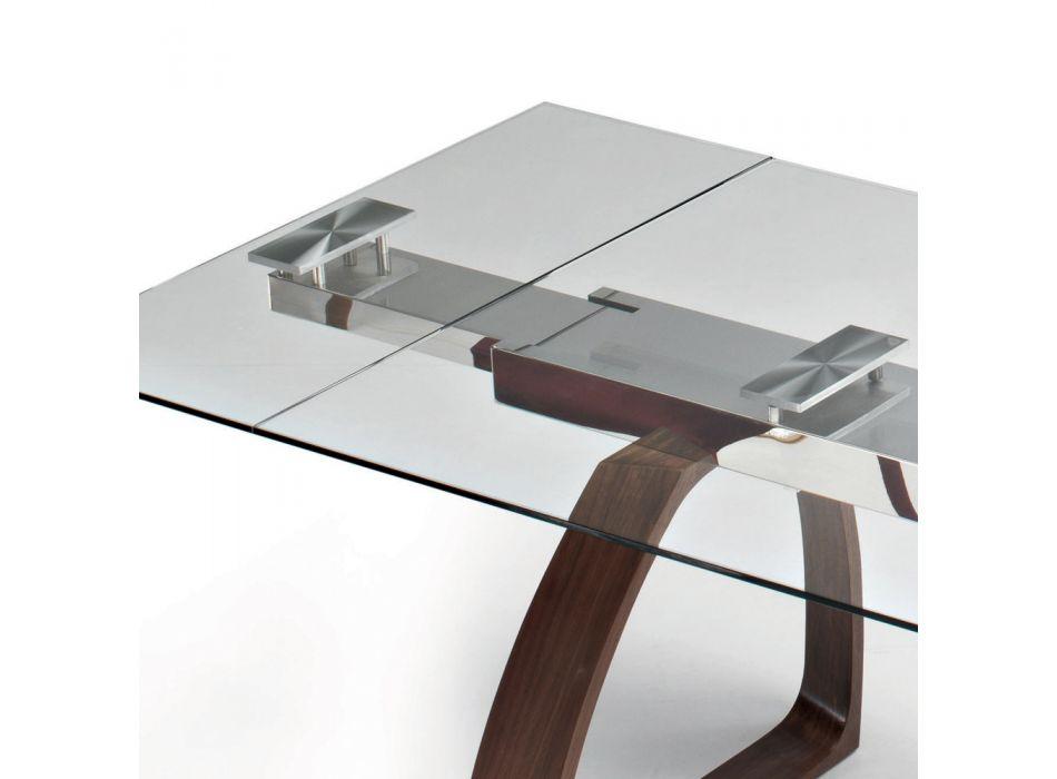 Ausziehbarer Esstisch bis 280 cm aus Glas Made in Italy - Antimo