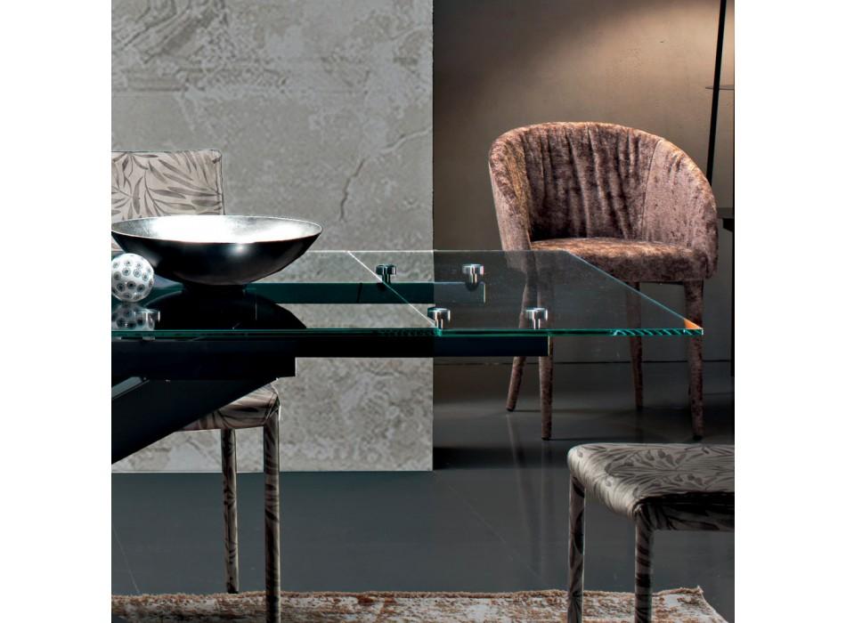 Ausziehbarer Esstisch bis 300 cm aus Glas Made in Italy - Grotta