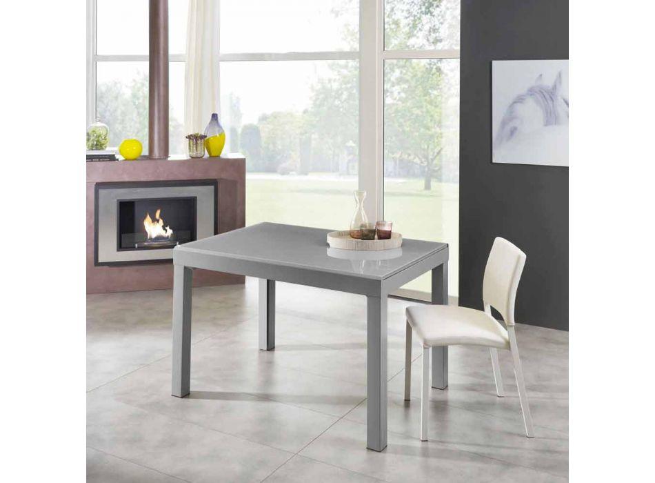 Ausziehbarer Esstisch Bis zu 350 cm aus Melaminglas und Metall - Meryl