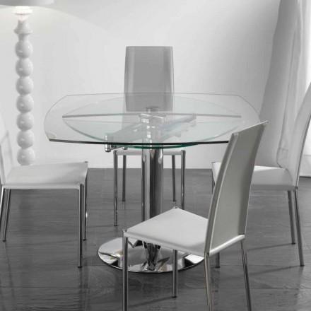 Tisch mit Hartglas Tischplatte averlängerbar Onda