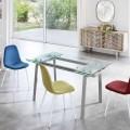 Ausziehbarer Esstisch aus Glas, L 140 / 200x P 80 cm - Nardo