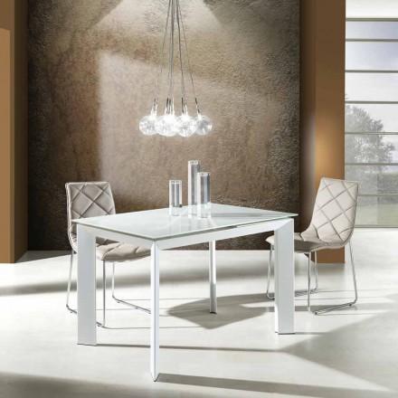 Esstisch mit Zeno weiß lackiertem Hartglas