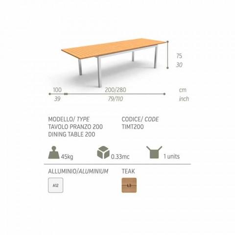 Ausziehbarer Garten-Esstisch aus Holz-Teakholz