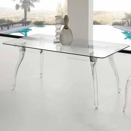 Esstisch mit Hartglas Tischplatte in modernem Design Jinny