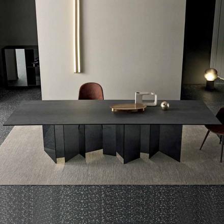 Design Esstisch in Keramik und Rauchglas Basis Made in Italy - Zufällig