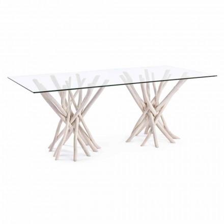 Design Esstisch aus Glas und gebleichtem Teakholz Homemotion - Frankreich