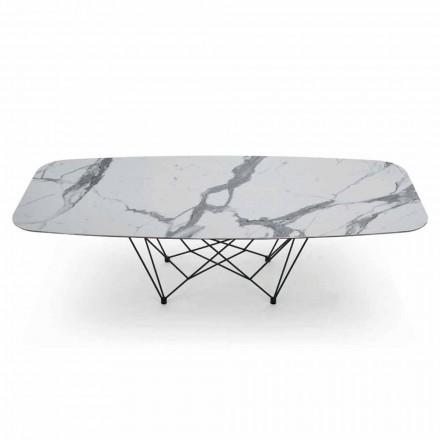Esstisch aus Hypermarble und Stahl Made in Italy, Hochwertig - Ezzellino
