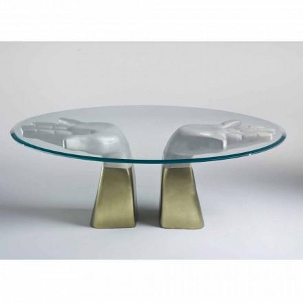 Esstisch aus Holz mit Tischplatte aus Glas, made in Italy, Bartolo