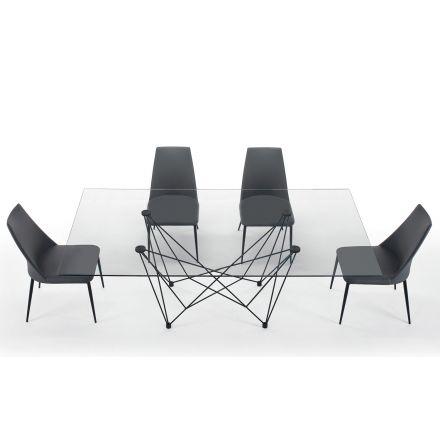 Esstisch aus gehärtetem Glas und schwarzem Stahl – Ezzellino