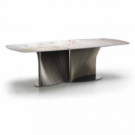 Moderner Esstisch aus Gres und Eschenholz Made in Italy - Croma