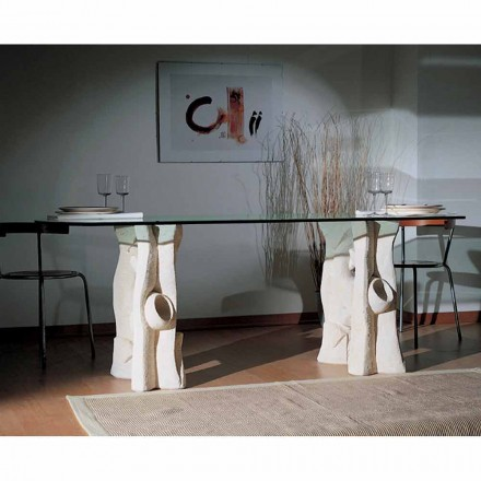 Moderner Tisch aus Stein und Kristall Daiana