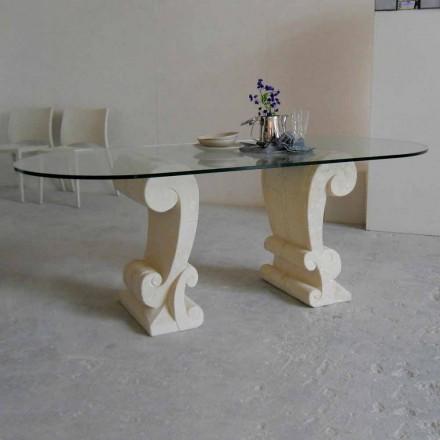 Ovaler Esstisch aus Stein und Kristall im klassischen Design Aracne