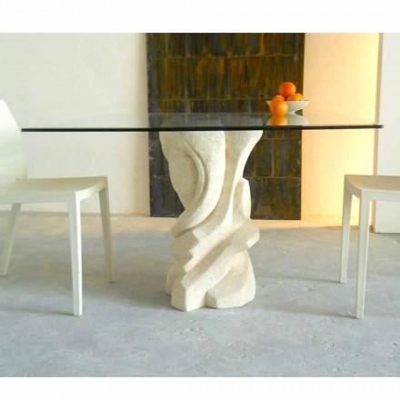 Tisch viereckig aus Stein und Kristallplatte Leda