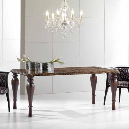 Rechteckiger Esstisch aus Emperador Dark Marble Made in Italy - Nicolas