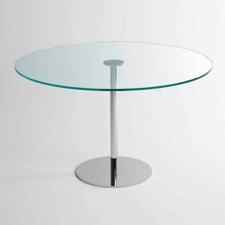 Runder Esstisch mit extraleichter Glasplatte Made in Italy - Dolce