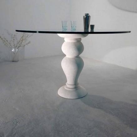 Runder Esstisch aus Stein und Kristall im klassischen Design Edipo