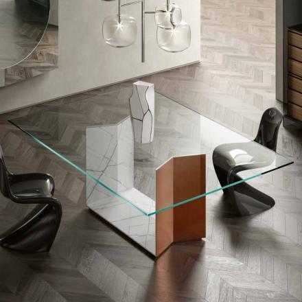 Metall- und Marmortisch mit luxuriöser Glasplatte Made in Italy - Minera