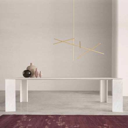 Design Esstisch aus weißem Marmor Namibia, 210x110 cm – Monastero