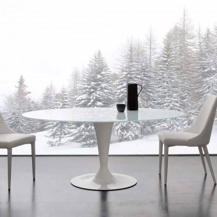 Moderner Tisch elliptisch aus Glas extraklar und Stahl Aurora