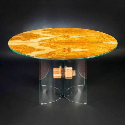 Runder Tisch aus Olivenbaumholz und Glas Portofino
