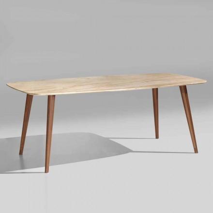 Hochwertiger moderner Tisch aus Marmor und Walnussholz Made in Italy - Herkules