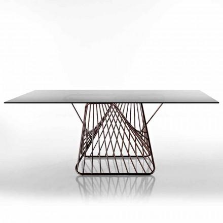 Moderner Designtisch aus gehärtetem Glas, hergestellt in Italien, Mitia
