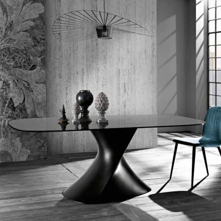 Tisch mit modernem Design aus gehärtetem Glas, hergestellt in Italien, Clark