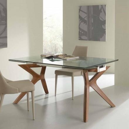Tisch in modernem Design ausziehbar aus Stahl und Glas Kentucky