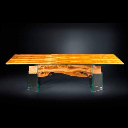 Rechteckiger Tisch aus Olivenbaumholz und Glas Portofino