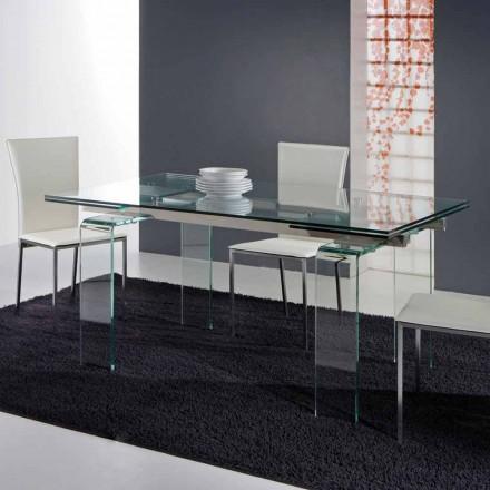 Verlängerbarer Tisch aus Glas durchsichtig in modernem Design Atlanta