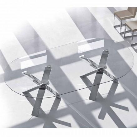 Design oval Tisch aus Kristall 280x120cm hergestellt in Italien, Baum