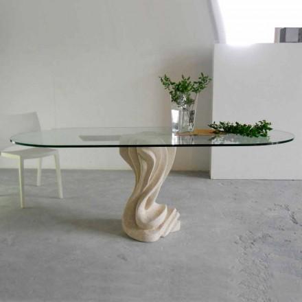 Ovaler Tisch aus Stein mit Kristall Tischplatte Agave